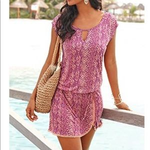 Lascana CROCHET HEMLINE PRINT DRESS NWT